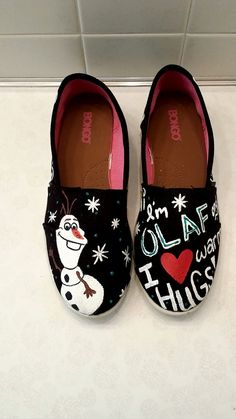 Olaf Hand Painted Canvas Shoes by BYBCreativCrafts on Etsy, $45.00