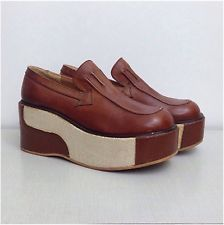 RARE Vintage NOS 70s 2 Tone Brown Designer Platform Wedge Shoes