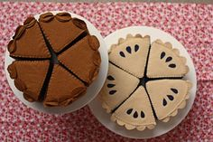 Felt chocolate cake and blueberry pie
