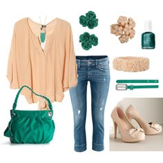 Everyday Wear - Spring - Peach and Green