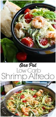 One Pot Low Carb Shrimp Alfredo | This easy one pot meal is a combination of shrimp, fresh tomatoes, zucchini noodles, and creamy alfredo sauce. This easy low carb shrimp alfredo recipe only takes minutes to make! If you're looking for a healthy shrimp alfredo recipe you're going to love this! Seafood Recipes, Keto Recipes, Cooking Recipes, Healthy Recipes, Healthy Meals, Bread Recipes, Seafood Dishes, Fish Recipes, Healthy Cooking