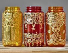 Style henné bleu Cobalt verre vases à long col avec par LITdecor