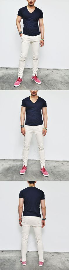 Tops :: Tees :: Slim Fit Basic Cotton V-neck Pocket-Tee 186 - Mens Fashion Clothing For An Attractive Guy Look