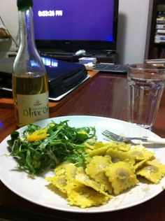 Ravioli with fennel and orange salad with Castanya olive oil.
