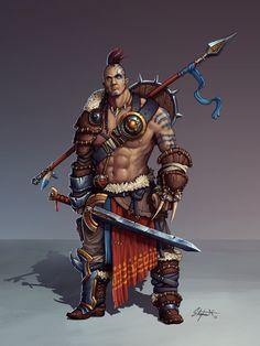 m Barbarian Shield Sword Spear midlvl stephen-nickel-viking-painting-final.jpg (1200×1600)