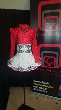 Classy Red Aine Designs Irish Dance Dress Solo Costume For Sale