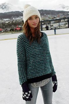 love this sweater.  pattern.  colors. Urban Outfitters; Ecote Stardust Open-Stitch Sweater