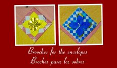 Origami Maniacs 209: Envelope Brooches/ Broches Para los Sobres Gato Origami, Origami Quilt, Envelopes, Coasters, Quilts, Frame, Youtube, Blog, Facebook