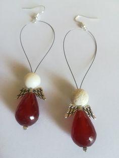 Angels collection χειροποίητα σκουλαρίκια αγγέλων κρεμαστά για χρήματα από  ενεργειακές ημιπολύτιμες πέτρες κόκκινο αχάτη και λευκό a770907286d