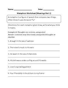 Metaphor Meanings Worksheet Part 1