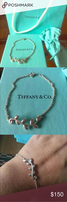 Tiffany & Co. Olive Leaf Bracelet A beautiful tribute to the olive branch, a symbol of peace and abundance. Bracelet in sterling silver. Size small. Original designs copyrighted by Paloma Picasso. Exclusive for Tiffany's. This item does not have the tags on it but was never worn. I have the box and bag as shown in image. Tiffany & Co. Jewelry Bracelets