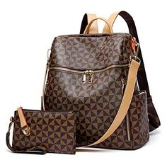 Backpacks for Women Fashion Leather Bags Girl's Anti-theft Rucksack Ladies Travel Bags Handbags and Purses Phone Bags 2Pcs Leather Bags, Leather Handbags, Louis Vuitton Monogram, Louis Vuitton Damier, Rains Backpack, Fashion Bags, Womens Fashion, Travel Bags For Women, Women's Handbags