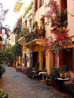 Beautiful alley restaurant, Crete, Greece
