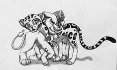 Kion and Fuli by on DeviantArt Big Cats Art, Cat Art, Dinosaur Room Decor, Lion King Fan Art, Le Roi Lion, Princess Luna, Leopards, Father And Son, Cute Baby Animals