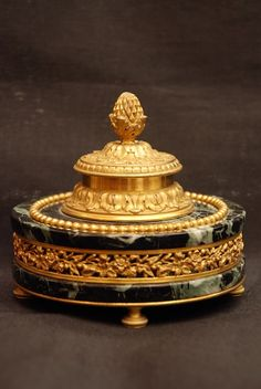 INKWELL -  bronze with marble, French, 1870-80 circa       ROUSSOS ANTIQUES