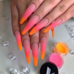Nails ombre Valentino Acrylic Blends So Nice 🍊🍉 Which Collection/ Color Is Your Favori. Valentino Acrylic Blends So Nice 🍊🍉 Which Collection/ Color Is Your Favorite? Glow Nails, Aycrlic Nails, Dope Nails, Coffin Nails, Fall Nails, Blush Nails, Bright Summer Acrylic Nails, Pink Acrylic Nails, Acrylic Nail Designs