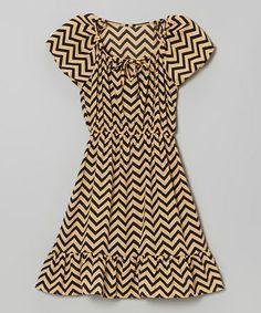 Look what I found on #zulily! Beige Zigzag Cap-Sleeve Dress - Girls #zulilyfinds