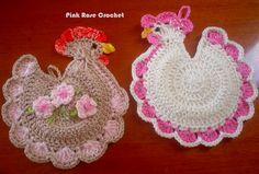 PINK ROSE CROCHET : Pega Panelas Galinhas Coloridas - Crochê