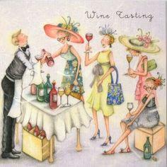 Wine Tasting Berni Parker Designs Card. £2.75 - FREE Postage!