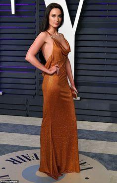 91fa3e240 Kacey Musgraves in Versace | Rust Orange Rhinestone Dress (Oscars Vanity  Fair Party 2019)