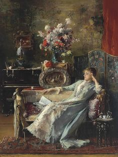 Mihály Munkácsy (Hungarian, , Young Woman sitting on a Sofa Painted Cottage, Woman Reading, Victorian Art, Classical Art, Art World, Young Women, Art History, Modern Art, Drake