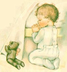 Vintage 1940 baby book illustration of baby kneeling in prayer with his teddy bear.