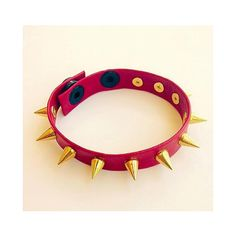 Genuine Red Leather Silver Spiked Strap Bracelet ($15) ❤ liked on Polyvore featuring jewelry, bracelets, leather bangles, spike bangle, snap jewelry, leather jewelry and spikes jewelry