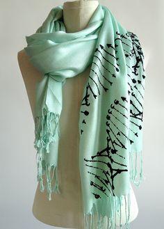 DNA scarf. DNA double helix silkscreened pashmina. by Cyberoptix