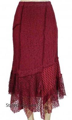 Farah Ladies Vintage Victorian Skirt In Burgundy