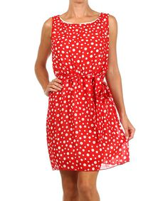 Take a look at this Red & White Polka Dot Sleeveless Dress on zulily today!