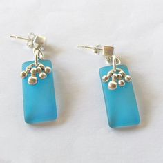 Blue Sea Glass Sterling Silver Earrings Sterling Sea by Omi Silver-I love summer and I love the  ...