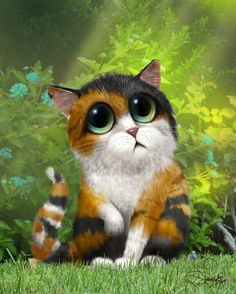 BigEyed cat Art work Keane inspired cute cat by SarahSpringStudio