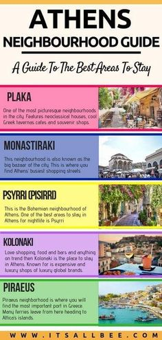 Guide to the best neighborhood to stay in Athens - Details of Athens neighbourhoods to make it easier to decide where to stay in Athens Greece traveltips europe vacation eurotrip itsallbee hotels budget luxury 784048616359521096 Europe Destinations, Europe Travel Tips, European Travel, Budget Travel, Travel Guides, Travel Info, Santorini, Mykonos Greece, Crete Greece