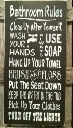 So cute! Bathroom Rules Family Sign Primitive Subway Sign by SubwaySignsTX, $29.99