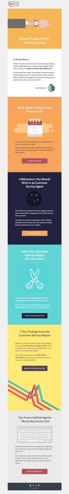 Boost Productivity with LiveChat [Monthly Newsletter] - Really Good Emails