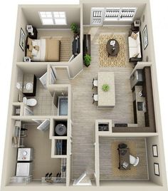I want my apartment floor plan to look like this, but I'd want the office to be the laundry room.: