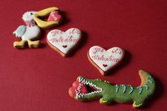 Valentine's Cookies~          Icing Cookies - by Farina - Fな生活, #, green, alligator, pelican, red heart