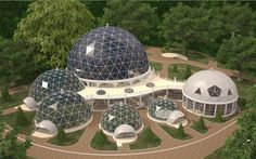 Icosahedron geometry domes in Kaliningrad. Stainless steel frame – T-STAR system construction. Modernization