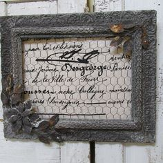 Framed chicken wire message photo board wall by AnitaSperoDesign