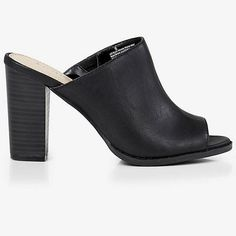 Express black mules New without tags! Has stacked heel. Has small scuff on the leather, and scuff on one heel also. No trades or Paypal please.  Express Shoes Mules & Clogs