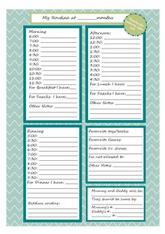 Nanny Report: Daily Information Sheet for Caregivers of ...