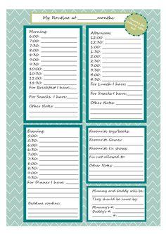 babysitter information, babysitter checklist, babysitter ...