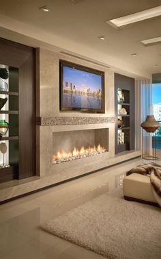 New living room tv wall modern design fireplaces Ideas Bedroom Fireplace, Home Fireplace, Modern Fireplace, Living Room With Fireplace, Fireplace Design, Bedroom Tv, Granite Fireplace, Bedroom Decor, Small Fireplace