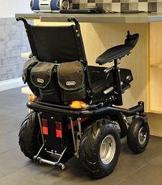 This is the coolest wheelchair. It was built by the user, specifically for his needs. Compact, yet heavy duty. I love it!