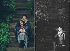 Couple poses on stairs during their engagement session in Prospect Park with NYC wedding photographer Ben Lau.