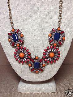 Preppy-navy-blue-orange-coral-crystal-designer-inspired-statement-necklace