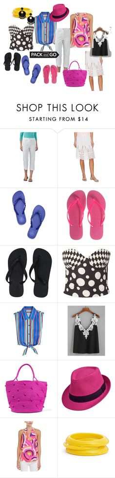 """""""Just Beachy"""" by lwilson126 on Polyvore featuring TravelSmith, The Letter, Tory Burch, Havaianas, Versace, Moschino, WithChic, Sensi Studio, Alice & Trixie and ZENZii"""