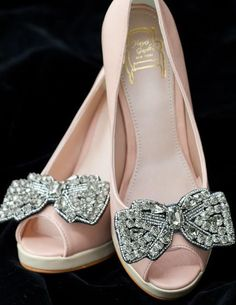 Pretty Heels with Silver Bows fashion shoes bows high heels silver bling peek toe