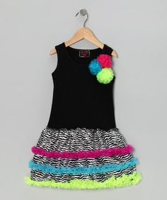Take a look at this Black Neon Zebra Ruffle Dress - Toddler by Royal Gem on #zulily today!