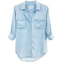 Rails Carter Long Sleeve Arrow Shirt - Denim & White (€160) ❤ liked on Polyvore featuring tops, shirts, blouses, рубашки, long sleeve tops, long sleeve denim shirt, collared shirt, long-sleeve shirt and white long sleeve shirt